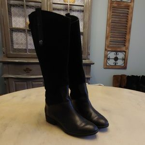 Womens Sam Edelman Black  High Leather/Suede Boots